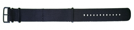 18mm Nato - Black with PVD Fastenings