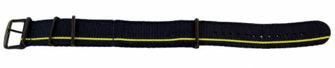 24mm Nato - Midnight Blue with Gold/Yellow Stripe