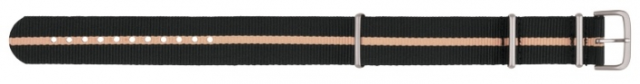 22mm Nato Strap - Black & Sand Stripe