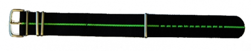 22mm Nato - Black/Lime Stripe