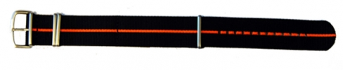 22mm Nato - Black/Orange Stripe